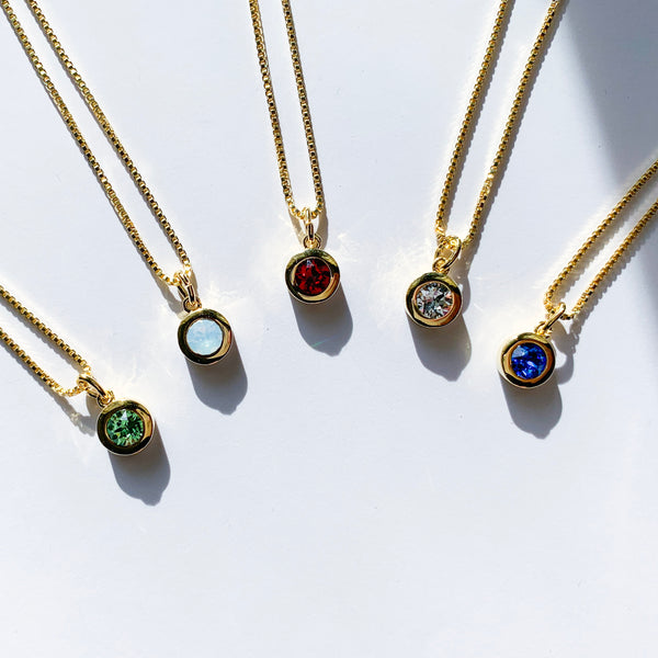 14K Gold Birthstone Necklace
