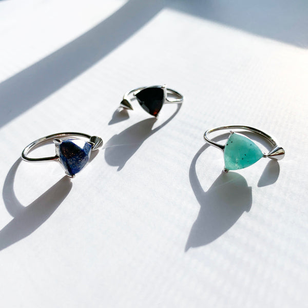 Geo Gemstone Silver Ring