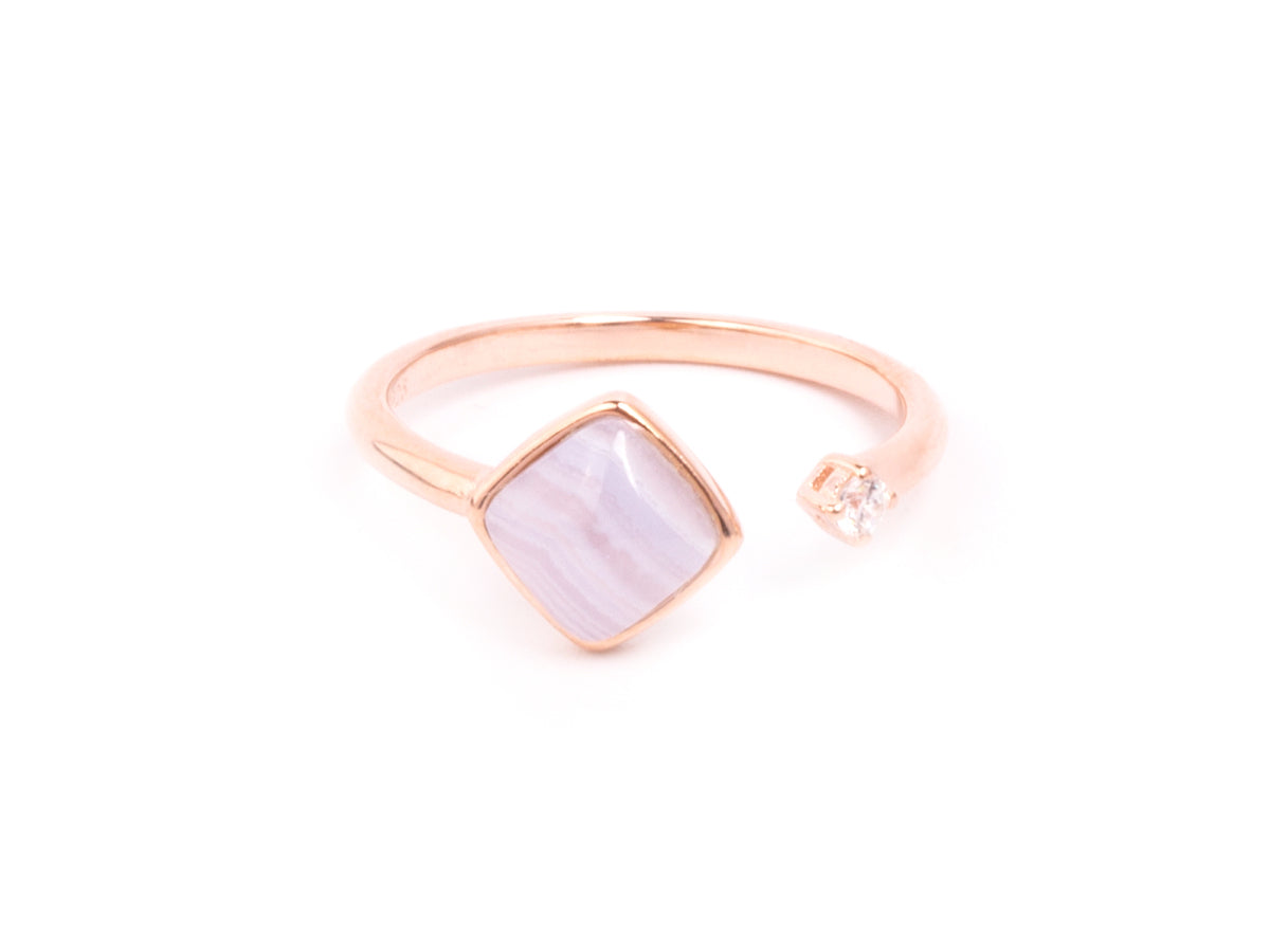 Fang Purple Agate Rose Gold Ring