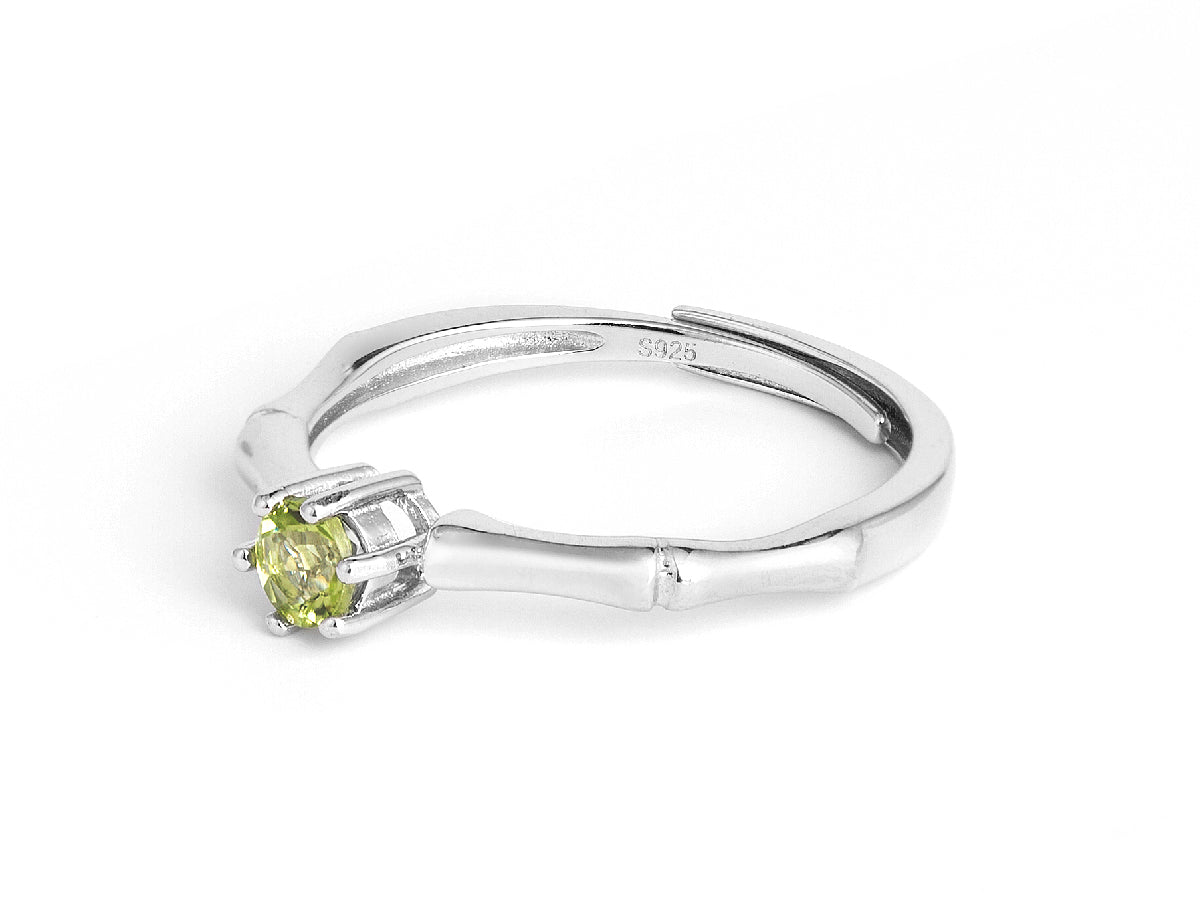 Olivine Bamboo Sterling Silver Ring in Columbus Ohio