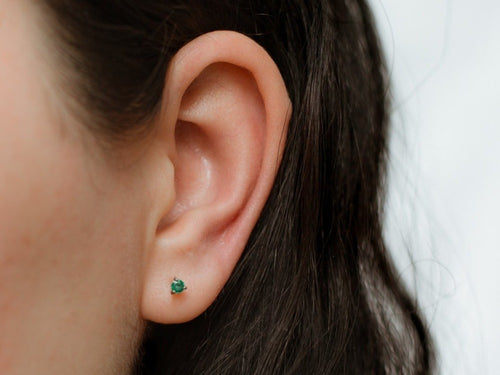 Ada Emerald Silver Stud Earrings
