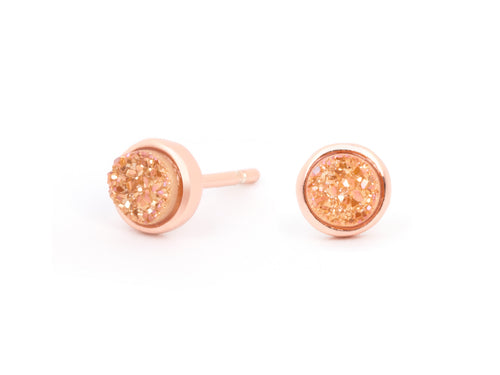 Alina Rose Gold Druzy Stud Earrings
