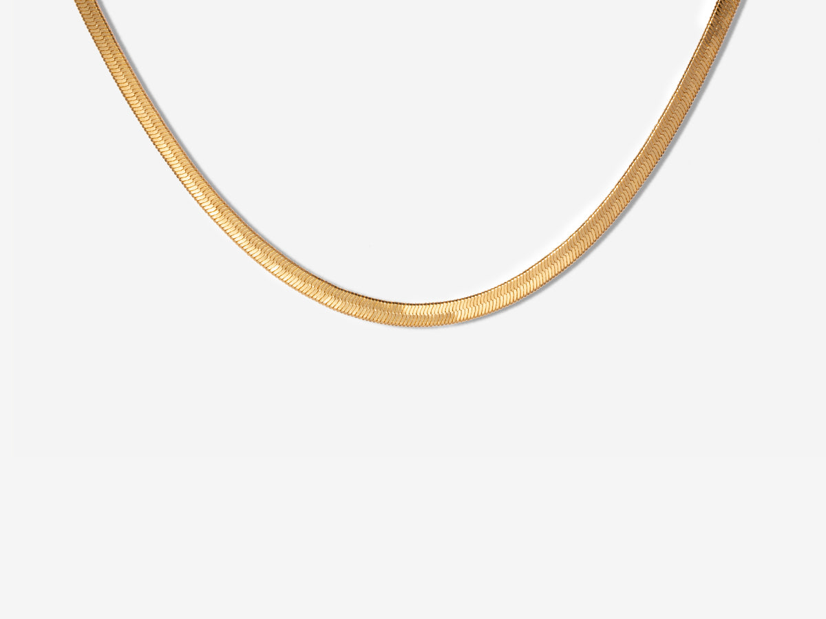 Amelia Herringbone Gold Filled Necklace