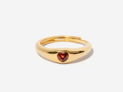 Amia Garnet Dome Ring in 14k Gold