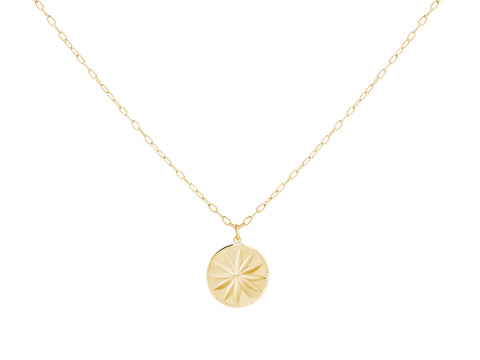 Pisces Zodiac Coin 14k Gold Necklace