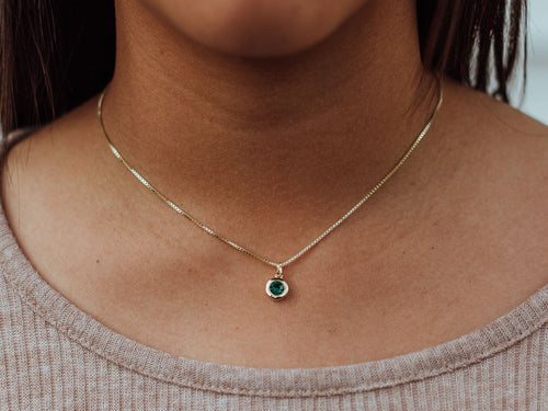 April Birthstone Emerald 14k Gold Necklace