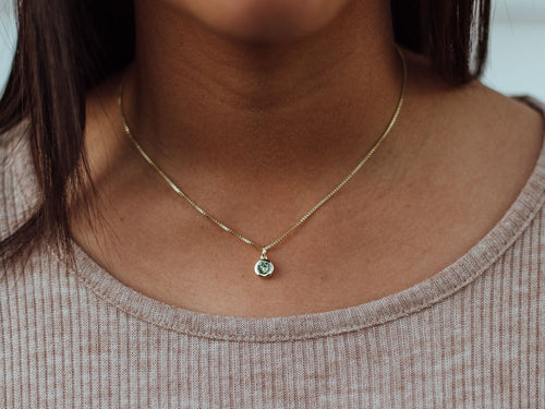 August Birthstone Peridot 14k Gold Necklace