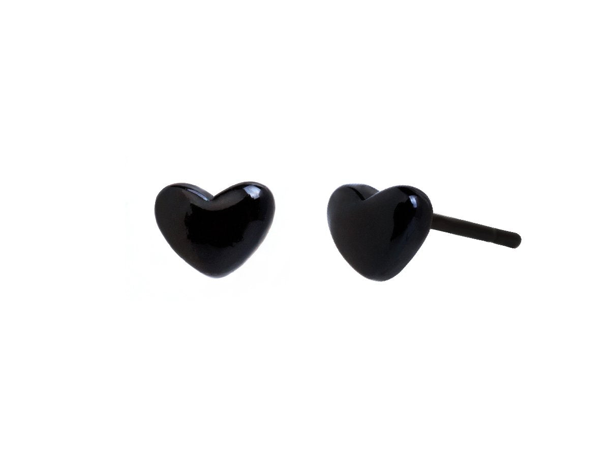 Avy Puff Heart Matte Black Earrings