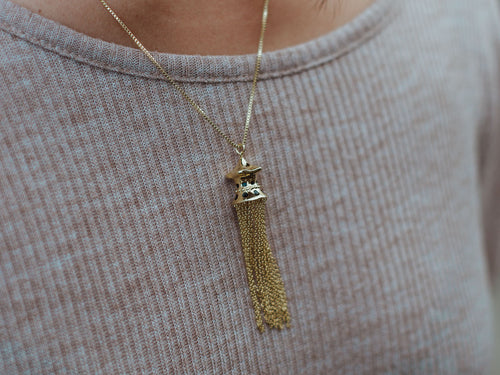 Baota Tassel 14k Gold Charm Necklace