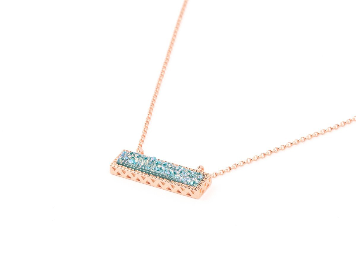 Bay Blue Druzy Pendant Necklace
