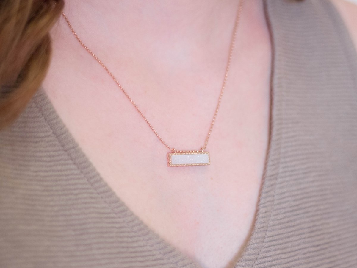 Bay White Druzy Pendant Necklace