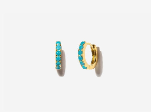 Beaded Turquoise 14k Gold Huggie Earrings