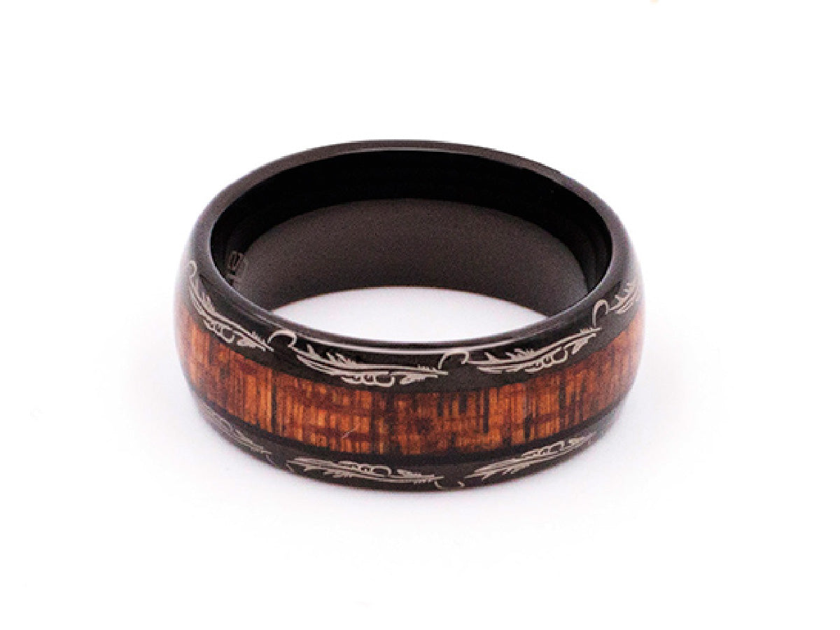 Black and Koa Wood Inlay Engraved Tungsten Carbide Ring in Columbus Ohio