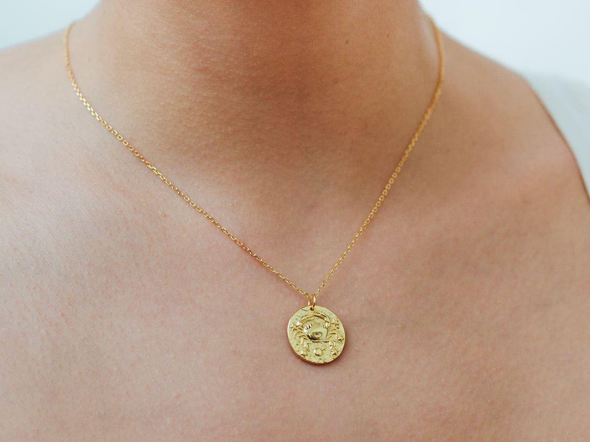 Cancer Zodiac Coin 14k Gold Necklace