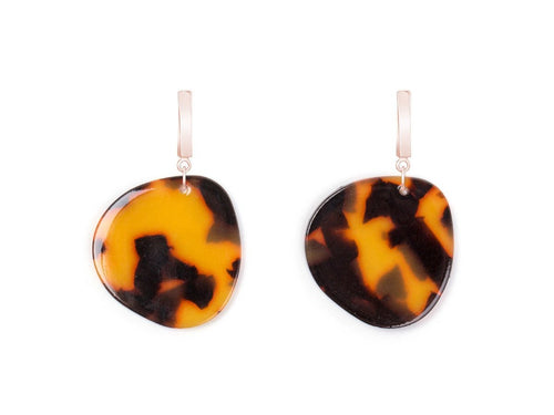 Chestnut Acrylic Drop Earrings - Orange and Brown