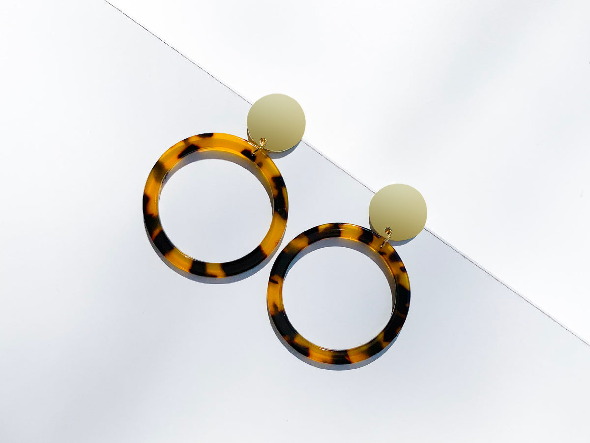 Circle Brown and Orange Drop Resin Earrings