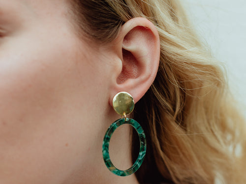 Circle Drop Resin Earrings