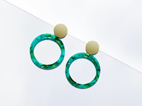 Eclipse Mint Green Resin Hoop Earrings