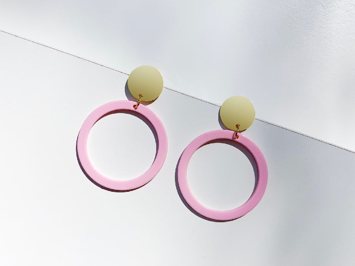 Circle Pink Drop Resin Earrings