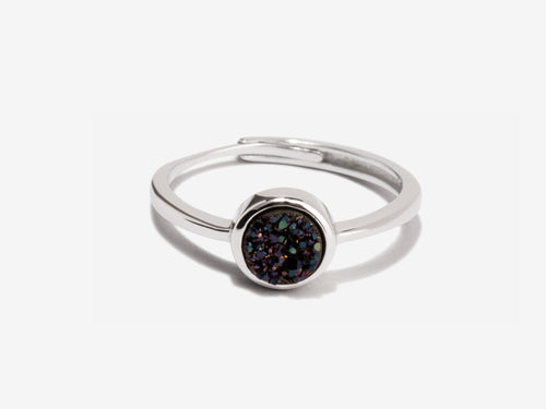 Cove Black Druzy Sterling Silver Ring