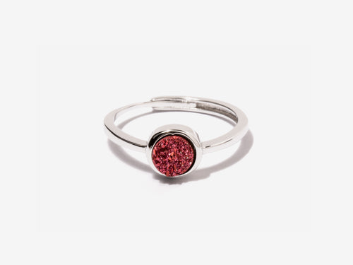 Cove Fuchsia Druzy Sterling Silver Ring