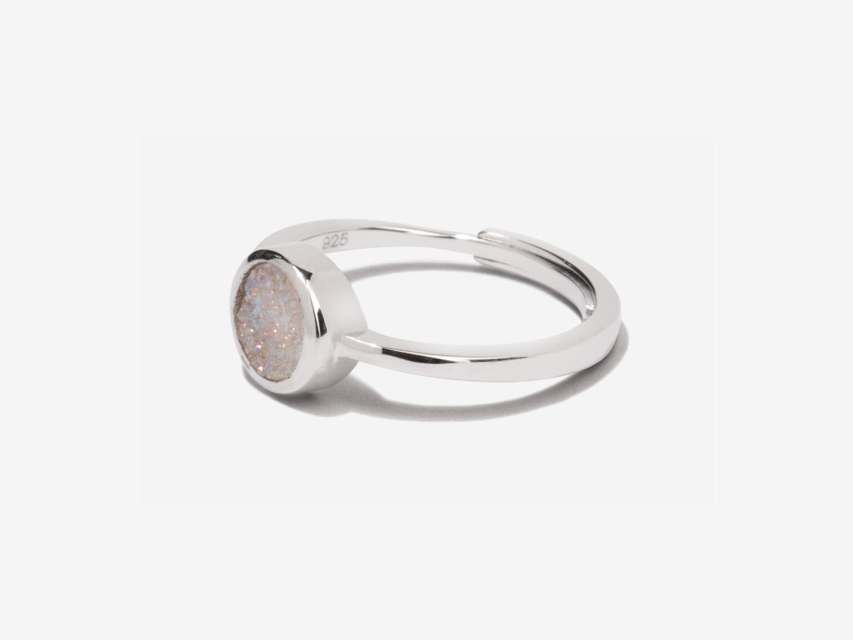Cove White Druzy Sterling Silver Ring