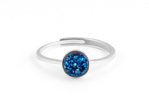 Cove Blue Iridescent Drusy Silver Ring in Columbus Ohio