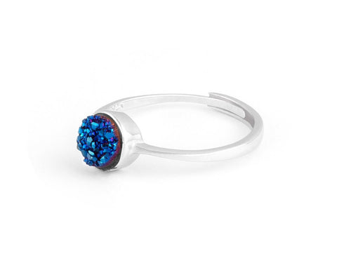 Cove Blue Iridescent Drusy Silver Ring