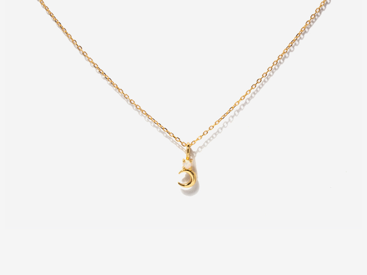 Crescent Moon Opal Charm Gold Necklace