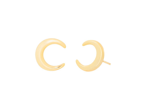 Crescent Moon Horn 14k Gold Earrings