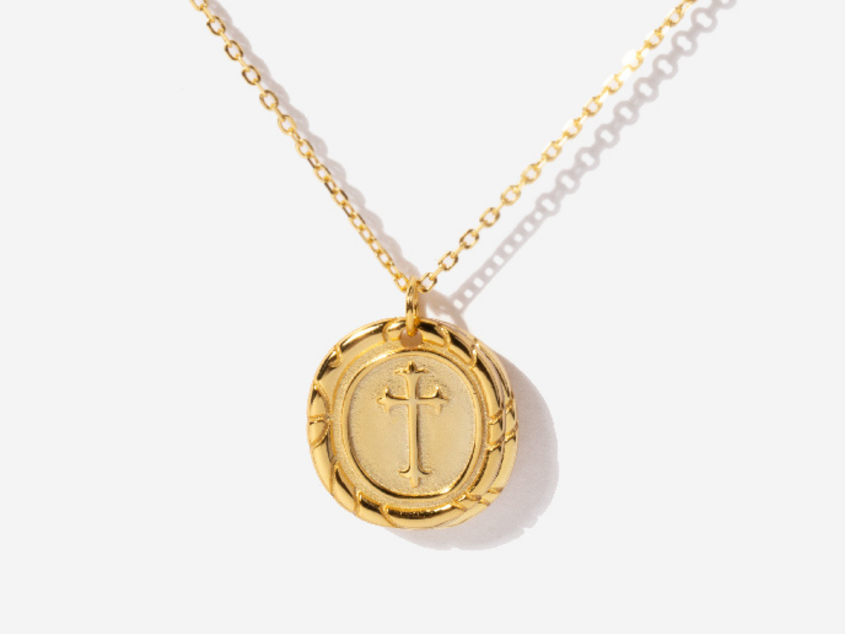 Cross Coin Necklace in 14K Gold