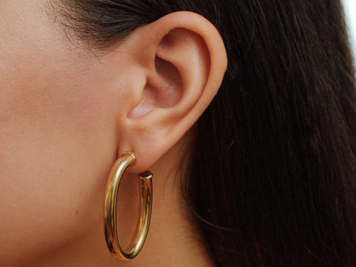Dalilah Oval Tube Gold Filled Hoop Earrings