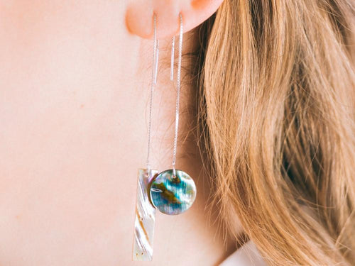 Deco Abalone Shell Threader Earrings