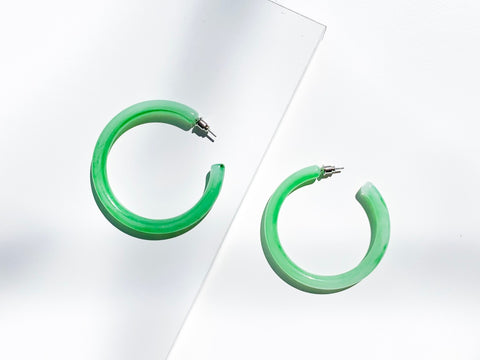 Moss Green Chunky Mini Hoop Resin Earrings