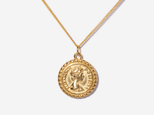 Vintage Elizabeth II Coin Necklace 14k Gold