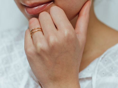 Elsa Double Bar Ring in 14K Gold
