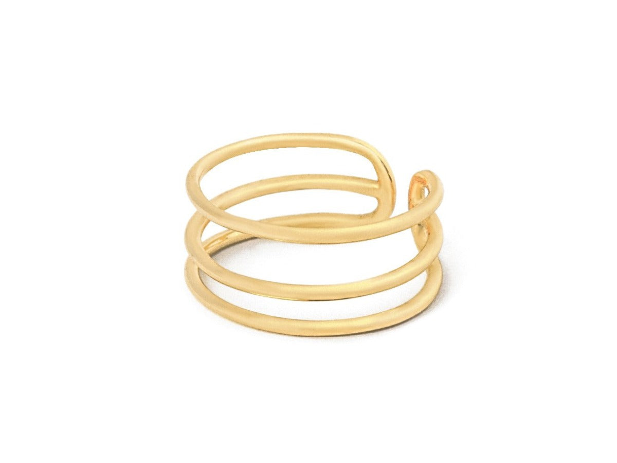 Elsa Tri Bar Ring in 14K Gold