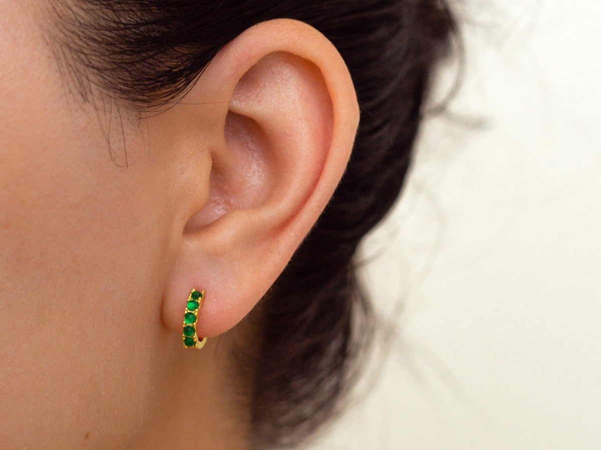 Beaded Emerald 14k Gold Huggie Earrings
