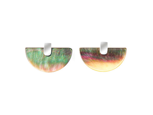Fan Black Lip Shell Earrings