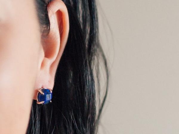 Globe Lapis Lazuli Stud Earrings