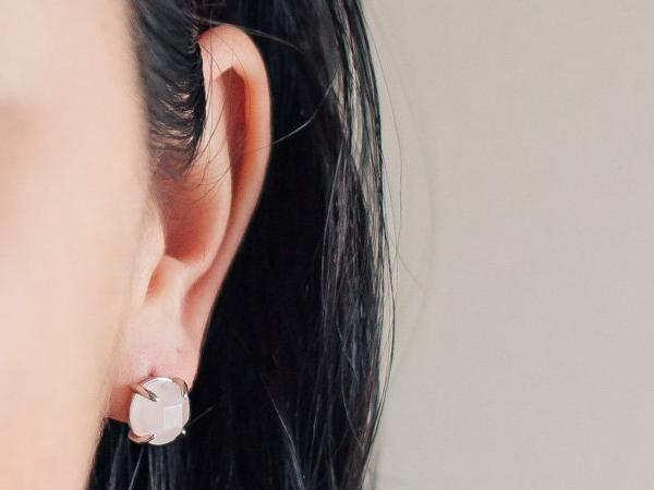 Globe Pink Quartz Stud Earrings