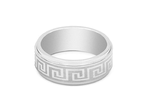 Greek Key Engraved Tungsten Carbide Ring in Columbus Ohio