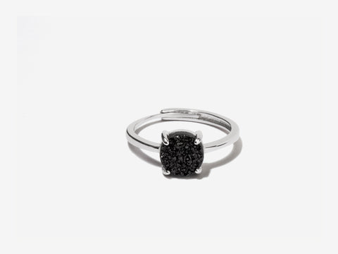 Cove Grey Druzy Sterling Silver Ring