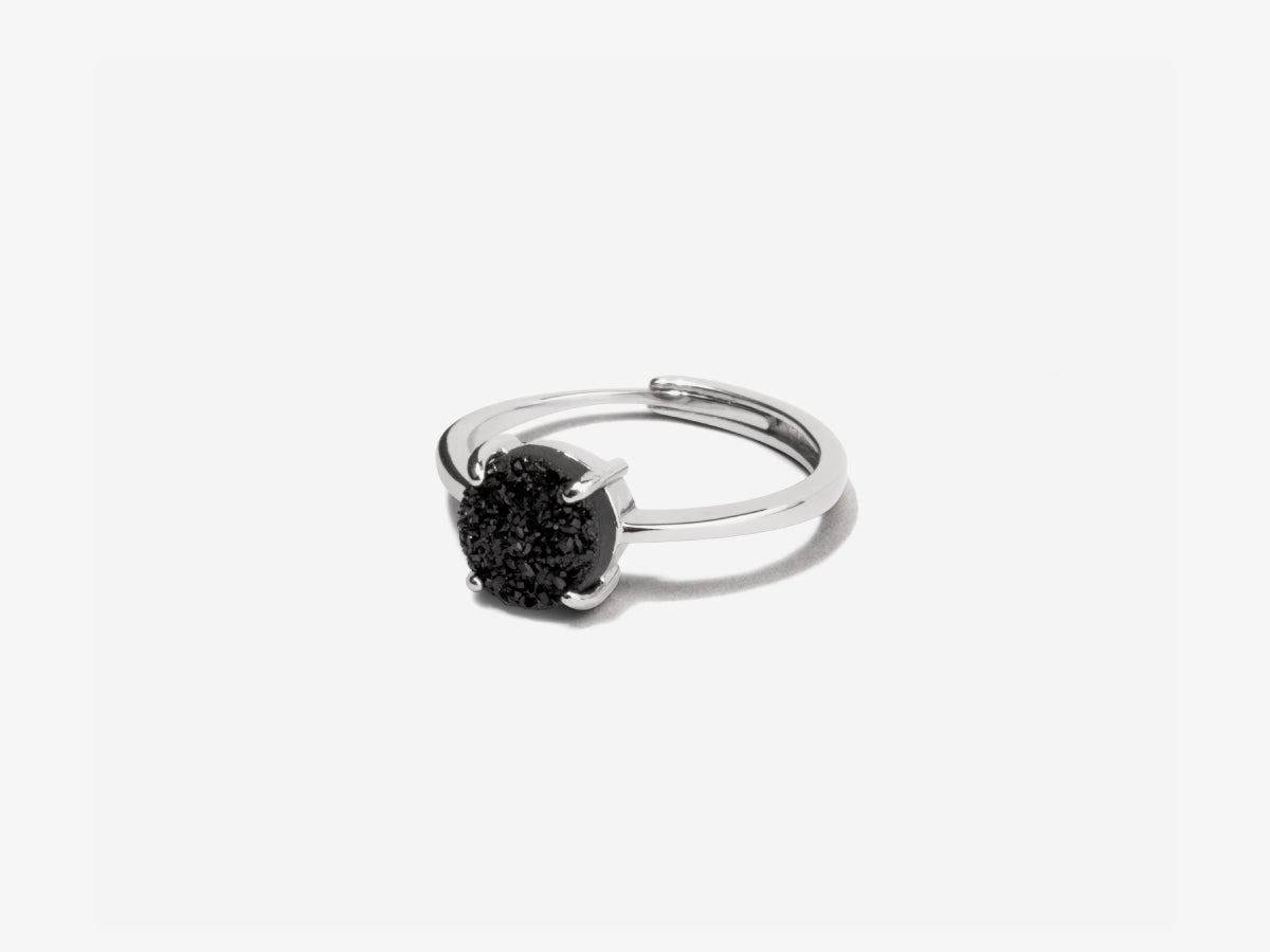 Grotto Black Druzy Sterling Silver Ring