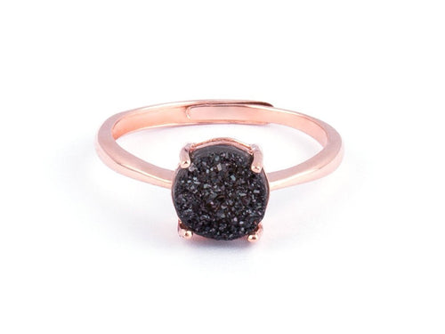 Grotto Black Iridescent Drusy Rose Gold Ring in Columbus Ohio