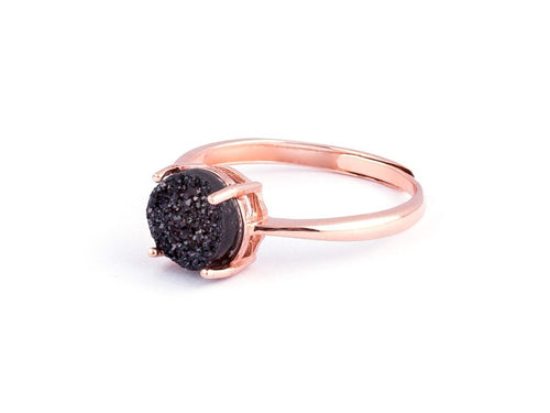 Grotto Black Iridescent Drusy Rose Gold Ring