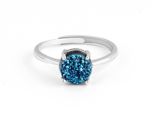 Grotto Blue Iridescent Drusy Silver Ring in Columbus Ohio