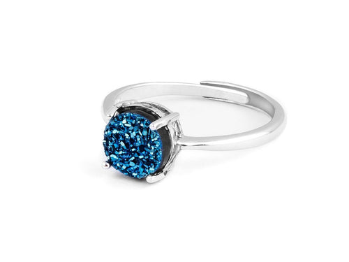 Grotto Blue Iridescent Drusy Silver Ring