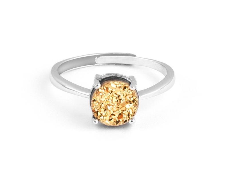 Grotto Gold Iridescent Drusy Sterling Silver Ring in Columbus Ohio