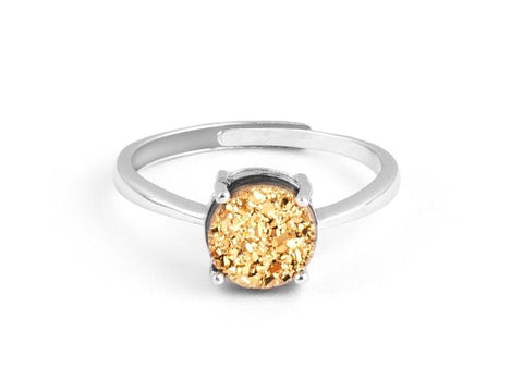 Grotto White Druzy Sterling Silver Ring